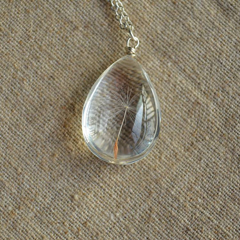 Dandelion Sterling Silver Water Drop Pendant
