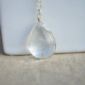Dandelion Sterling Silver Water Drop Pendant, Gift Boxed