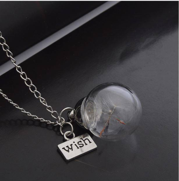 "Dandelion in Glass Pendant with ""Wish"" tag & Gift Box; FB1638"