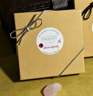 Dragonfly Gem Pouch Boxed Set - Rose Quartz for Relationships, Heart, Nurturing energy; FB1231