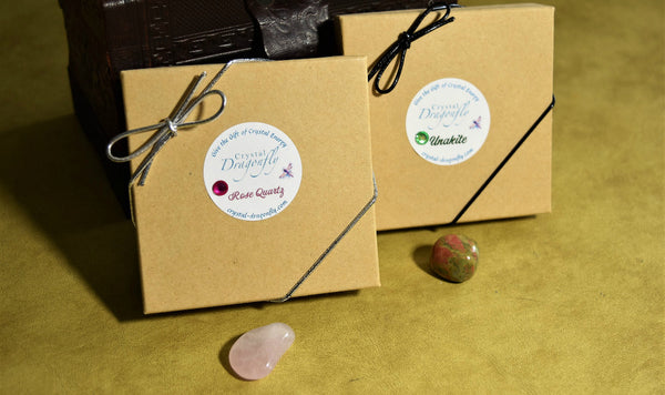 Dragonfly Gem Pouch Boxed Set - Unakite for seeing inner beauty, clearing energy; FB1232