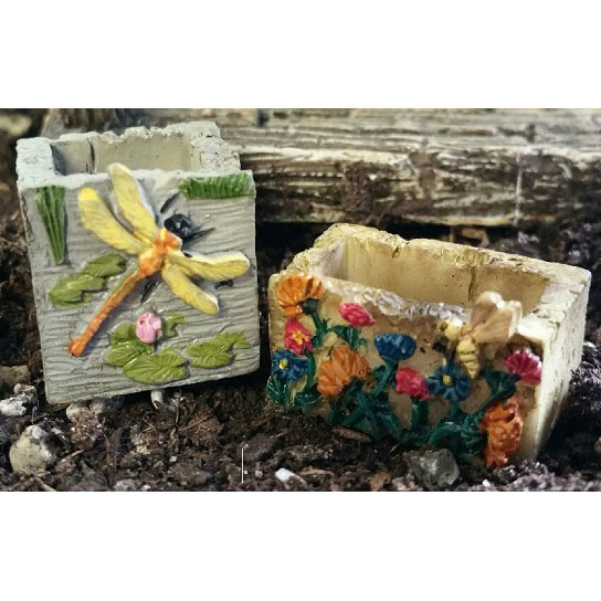 Fairy Garden Accessories - Mini Planters - Dragonfly - Set of 2 - FB9002