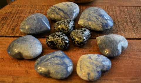 Dumortierite Hearts, connection to Angelic Realm, harmony, finding your soulmate; FB1521