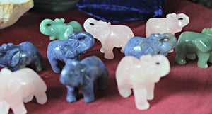 Elephant Totem/Spirit Animal Carving, Assorted Gemstones; FB1064