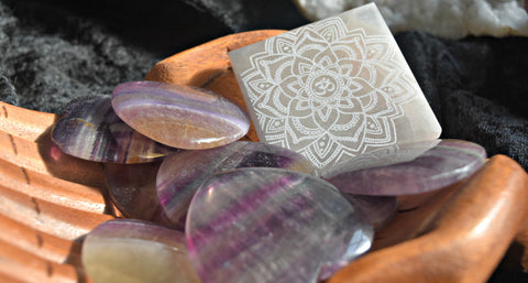 Selenite etched with Om Mandala & Rainbow Fluorite Heart; FB1040