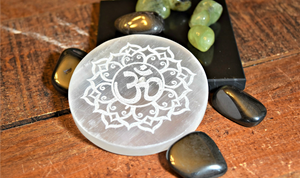 Selenite Etched Round Charging Plates / Bases for crystal grids and display; FB1488