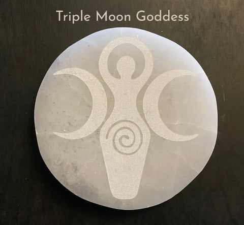 Selenite Etched Triple Moon Goddess Round Charging Plates / Bases for crystal grids and display; FB2598