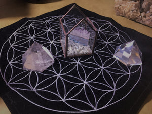 Crystal Energy Terrarium House with Amethyst Slice & Rainbow Moonstone chips; FB1043