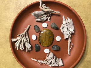 White Sage & Crystal Grid Collection: Shiva Eye, Prehnite with Epidote, Jasper; FB1364