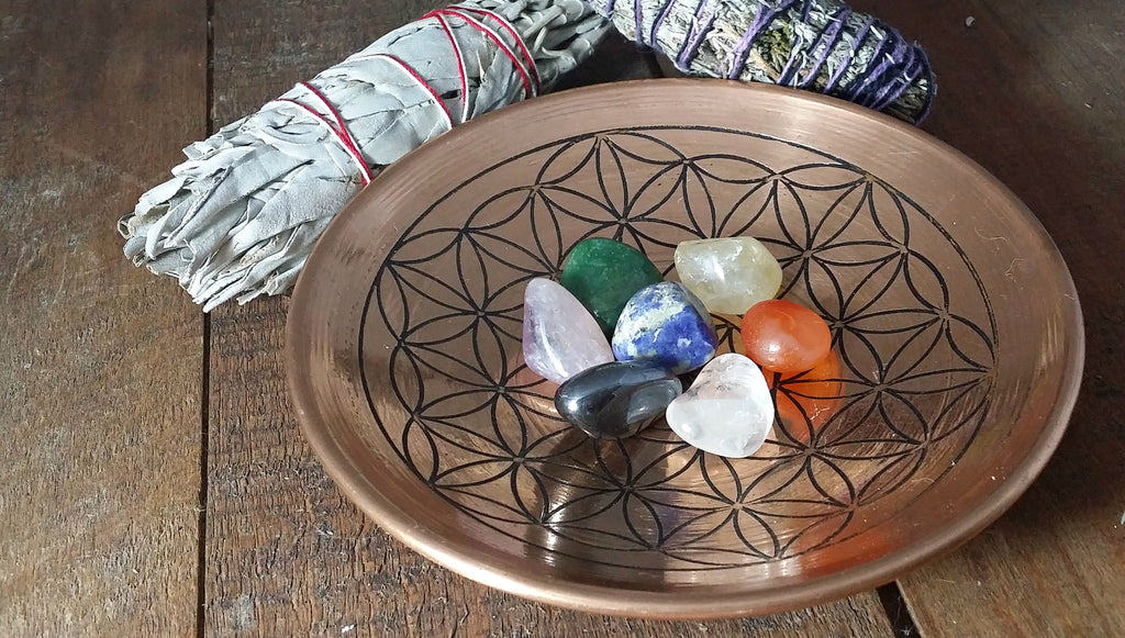 Copper Flower of Life Rounded Plate