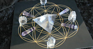 "White or Black 8"" Flower of Life Crystal Grid Base; FB1042"