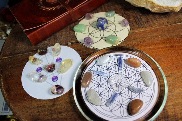 Glass Round Crystal Grid Base with Trio of Layouts and Crystal Grids; FB1949