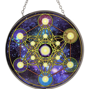 Glass Sun Catcher, Metatron, Tree of Life or Chakra Sri Yantra, FB1818