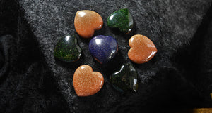 Green, Blue & Red Goldstone Hearts; FB1002