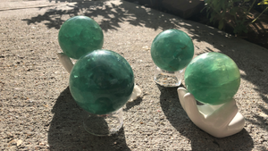 Green and Blue / Green Fluorite Spheres; FB1862