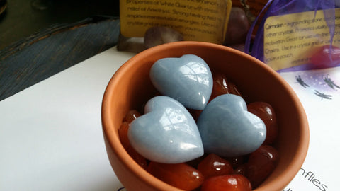 Angelite Pocket Heart - Stone of Eternity - Angelic Realm