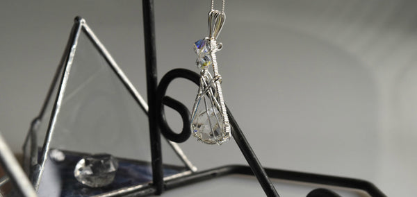 "Herkimer Diamond & Sterling Silver ""floating"" pendants to order, FB1122"