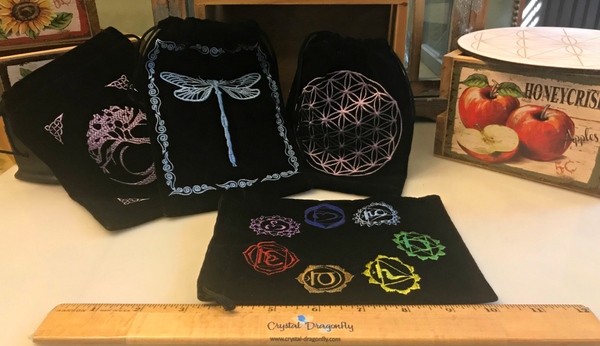 Embroidered Assorted Large Pouches - Fits Tarot Cards, Dragonfly and Inspiration Word tiles: FB1799
