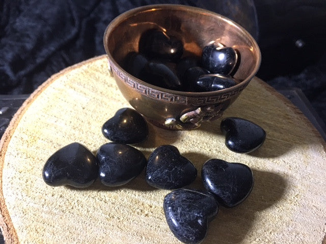 Black Tourmaline Pocket Hearts for serenity, grounding, courage & joy