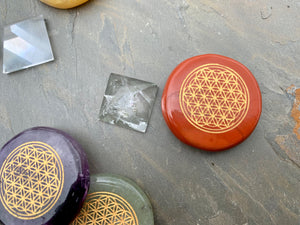 Flower of Life etched Spirit Stones with Mini Clear Quartz Pyramid;FB2099