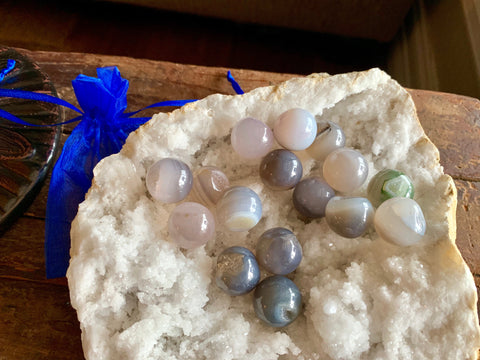 Gray Agate Mini Spheres for strength, courage, protection, healing,; FB2110