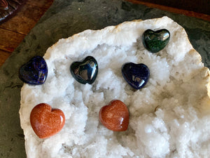 Blue, Red, or Green Goldstone Pocket Hearts