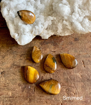Gold Tiger Eye Pear / Tear Drop Shape Cabochons; FB2330