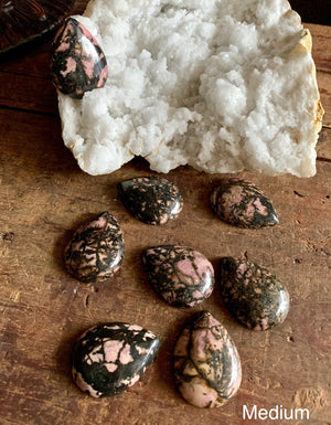 Polished & Carved Rhodonite Cabochons; FB2328