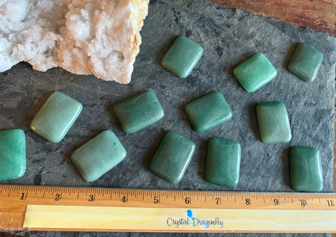 Polished & Carved Rounded Rectangular Green Aventurine Cabochons; FB2370