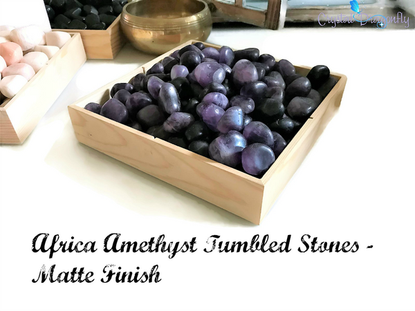 Tumbled African Amethyst (MATTE) - Stone of Meditation, Soothes the Mind, Opens Intuition; FB1648