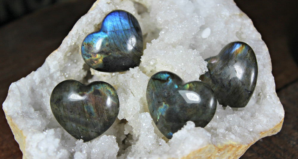 Labradorite Hearts - Stone of Magic, for emotional healing and psychic abilities