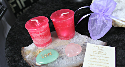 Reiki charged candles for Love with Rose Quartz heart, pouch and engraved Love word stone