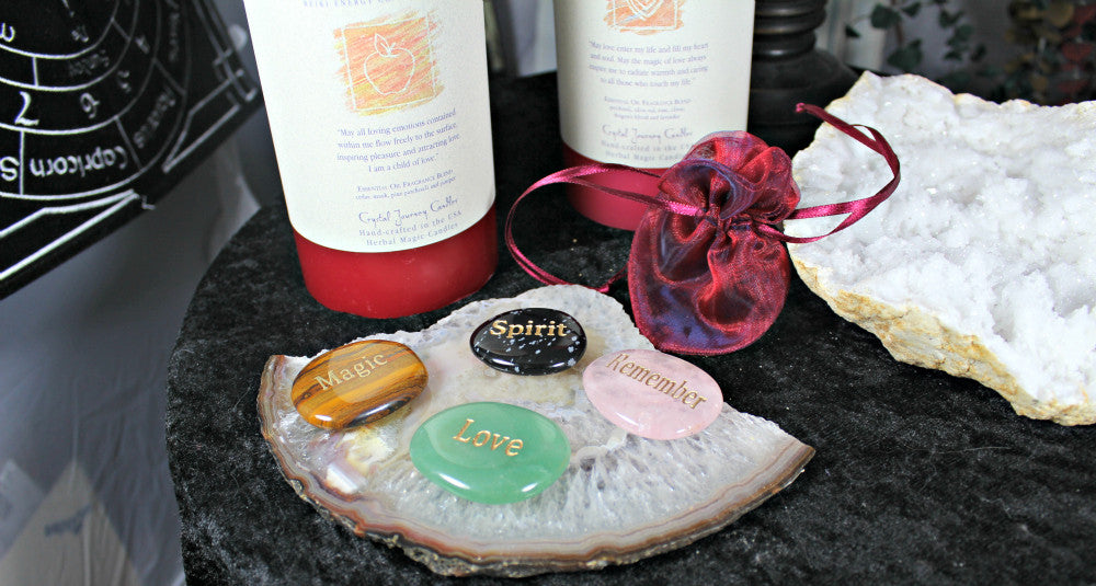 Reiki charged Pillar Candle with engraved Word Stone and pouch