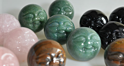 Moon Face Carved Spheres