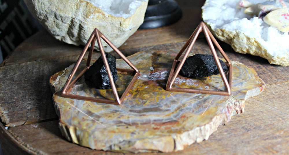 "2"" Copper Mini Pyramid paired with Black Tourmaline Rough"