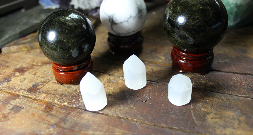 Selenite Points, small and perfect for crystal grids