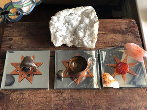 "Mirror 5"" Square with Copper Sacred Geometry Crystal Grid Bases or Display Base; FB2286"