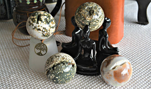 Ocean Jasper Sphere, gentle energy, fosters cooperation; FB1353