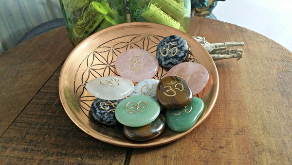 Om  and Yin Yang Totem / Polished Soothing Stones
