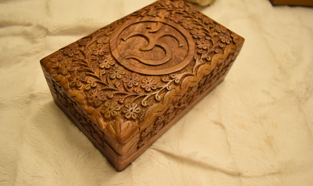 Etched Om Wood Carved Box; FB1436