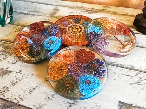 Orgone / Organite  Round Plate / Display Piece /  Base, Chakra stones; FB2473