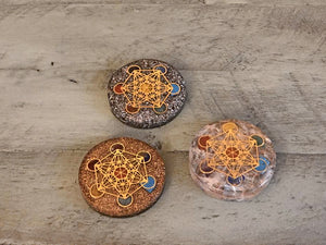 Orgonite Metatron's Cube Copper / Selenite, Hematite, Copper, Round Pocket Stone; FB2393