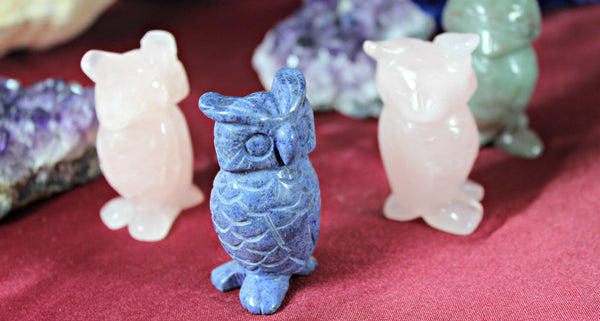 Owl Carving - Spirit Owl, Assorted Gemstones; FB1343