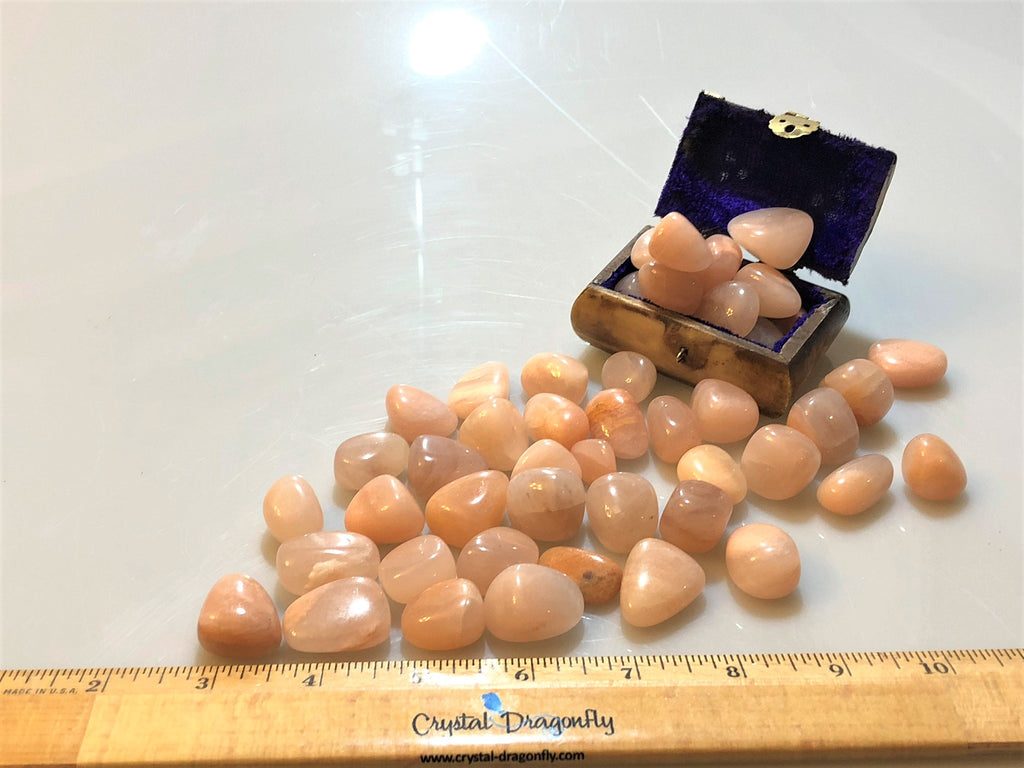 Tumbled Peach Moonstone - Stone of Good Fortune & Traveler's, Protection & Love