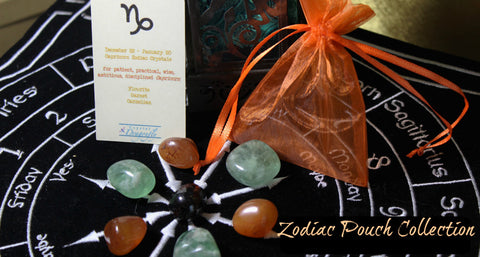 Zodiac Crystal Astrology Grids - all 12 Zodiac Signs, Tumbled stones, pouch & card