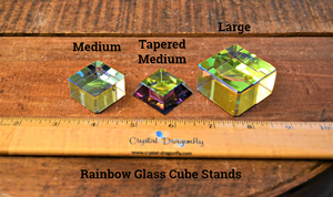 Rainbow Glass Cube Sphere Stand; FB1565