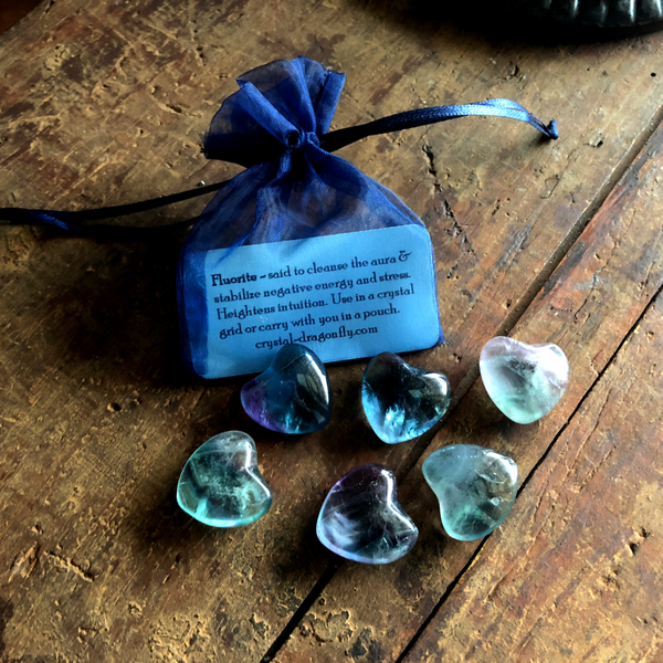 Rainbow Fluorite Pocket Hearts for confidence, intuition & to neutralize stress