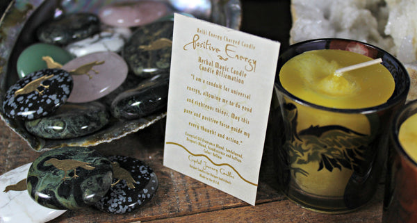 Raven Totem/Spirit Stone with Raven Candle Holder & Reiki Charged Positive Energy Candle