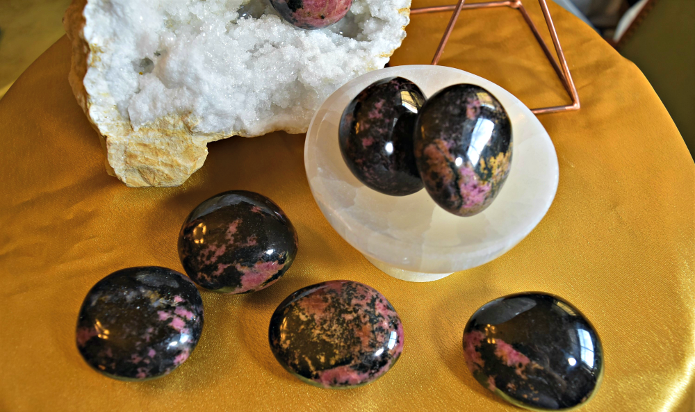 Rhodonite Pebbles for acceptance, healing, anxiety, peace, and stress; FB1297