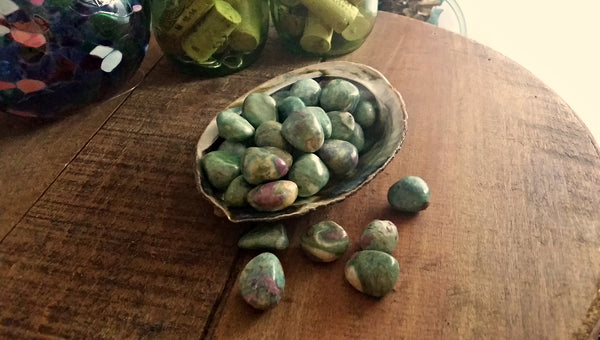 Tumbled Ruby Fuchsite for awareness, intuition, transforming negative energies